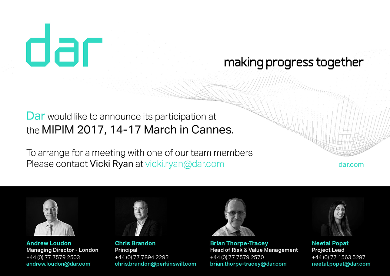 Dar would like to announce its participation at the MIPIM 2017, 14-17 March in Cannes.